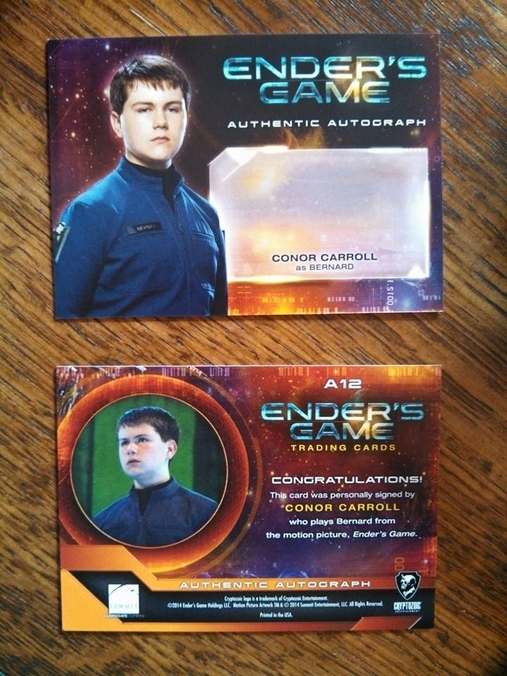 A look at the pre-signed, front and back of the character cards.