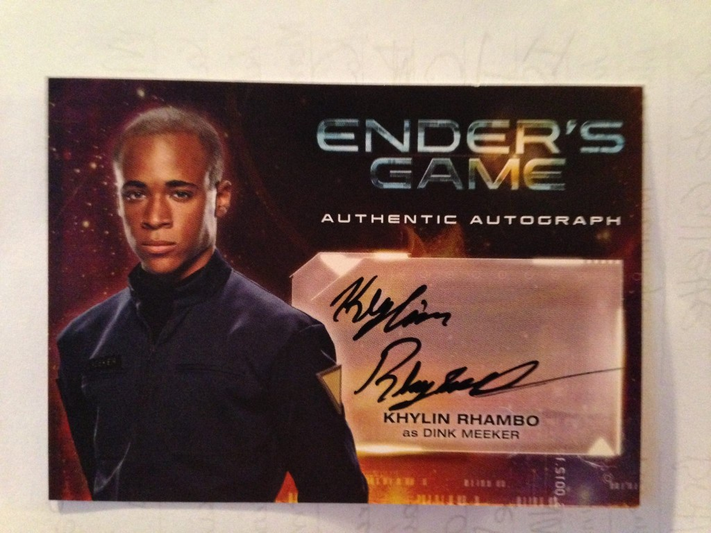 The signed front of Khylin Rhambo's character card.
