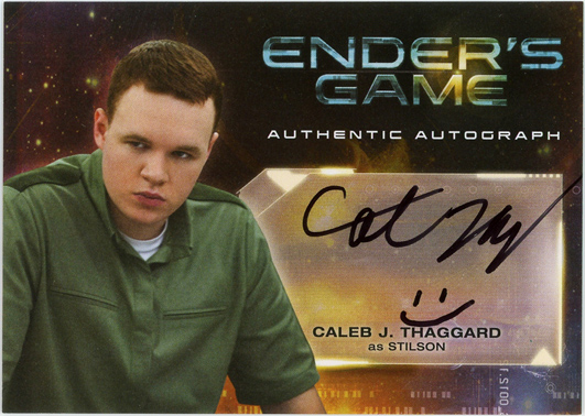 The signed front of Caleb Thaggard's character card.